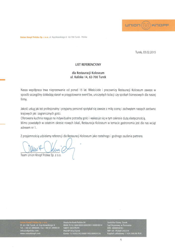 referencje union knopf dla koloseum